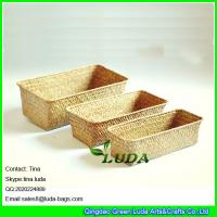 Buy cheap LUDA home storage box natural straw baskets set of 3 from wholesalers