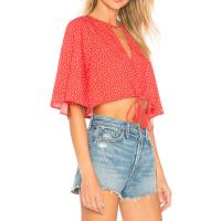Buy cheap Boutique Clothing Women Sexy Red Polka Dot Chiffon Summer Blouse from wholesalers
