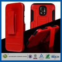 Buy cheap Red Shockproof Rugged Dual Layer Galaxy S5 Cases with Belt Clip Holster Kickstand from wholesalers