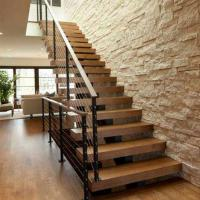 China Hot sell Modern villa stair design Free design acasia wood staircase with cable railing on sale