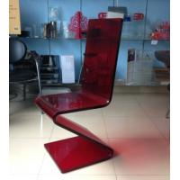 Quality Dining Room Modern Acrylic Furniture , Z Shape Transparent Red Acrylic Chair for sale