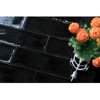 Buy cheap 100x300 Spanish Style Black Back Splash Tiles Wavy Surfce Water Resistance Subway Tile from wholesalers