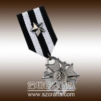 Buy cheap round shap silvery embossed military medals and trophys from wholesalers