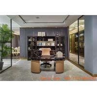 Buy cheap Luxury interior design furniture reading rooms writing desk and Bookcase with glass door in black glossy wood cabinets from wholesalers