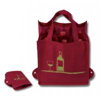 Buy cheap Reusable Foldable Grocery Bags , 6 Bottle Non Woven Wine Bottle Bags from wholesalers