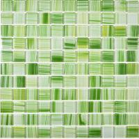 Buy cheap Green hand painted crystal glass mosaics swimming pool wall tiles from wholesalers