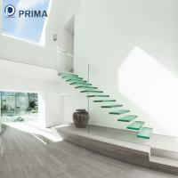 Buy cheap outdoor laminated glass step floating stairs with stainless steel standoff railing from wholesalers