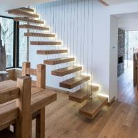 Buy cheap High quality wood staircase build floating staircase /wire railing staircase from wholesalers