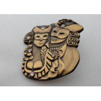 Buy cheap 3D Zinc Alloy, Aluminum, Stainless Steel Lapel Pins / Soft Enamel Pin with Rhinestone, Antique Gold Plated from wholesalers