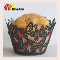 Buy cheap Laser cut lace cupcake wrappers dancing butterfly black and red and other colors from wholesalers
