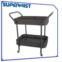 Buy cheap 2 Tier Espresso Dining Trolley Kitchen Trolley Serving Cart SGS from wholesalers
