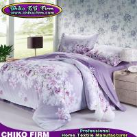 Buy cheap Wholesale Pure Cotton Purple Flower Queen King Size Bedding Sets from wholesalers