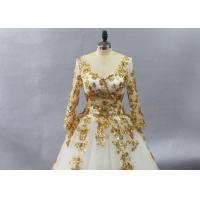 Buy cheap Golden Tulle Long Sleeve Lace Ball Gown Wedding Dress Applique Embroidered Design from wholesalers