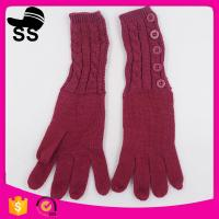 Buy cheap Yiwu Wholesale Hot-selling Outdoor Buttons Wine Red Outdoor Women Ladies Girls Knitted Gloves from wholesalers