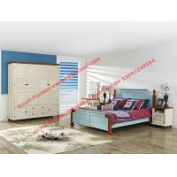 Buy cheap Mediterranean Leisure Style bedroom furniture in blue sky painting wood bed in from wholesalers