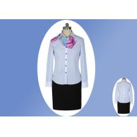 Buy cheap Modern Office Slim Long Sleeve Work Uniform Lady Blue White Striped Shirt from wholesalers