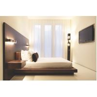 Hotel Furniture Wood panel cleats to wall Headboard with attached Upholstered headboard and two floating nightstands