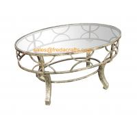 Buy cheap Top Quality  Metal Decorative Framed Coffee Table With Tempered Glass Top Silver Finish Table from wholesalers