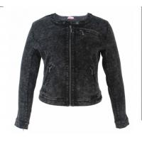 Buy cheap Black Denim Ladies PU Jackets Fitted Short Type With Zippers OEM Service from wholesalers