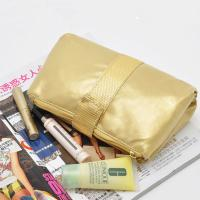Buy cheap Portable Toiletry PU Leather Folding Cosmetic Bag  Golden Color For Travel from wholesalers