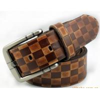 Buy cheap split leather cotton ginning plaid pattern men belts from wholesalers
