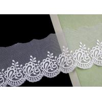 Buy cheap Nylon Mesh Cotton Embroidery Lace Trim With Floral Design Scalloped Edge No Azo from wholesalers