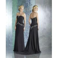 Buy cheap Beautiful Strapless Beaded A-Line Chiffon Black Formal Long Dresses For Women from wholesalers