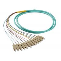 Buy cheap 50 / 125 OM4 OM3 Optical Fiber Pigtail SC 12 Fiber Optic Jumper Cable With PVC Jacket from wholesalers