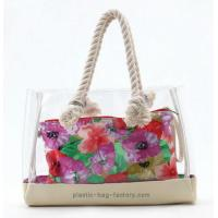 Buy cheap Lady Transparent Beach Tote Bag Clear PVC Beach Shoulder bag with Sturdy Cotton Rope from wholesalers