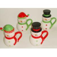 Handpainted Christmas 3D Snowman Mug , Embossed Coffee Mugs Mug With Spoon