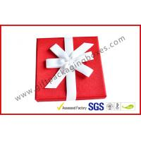 Buy cheap Elegant Square 1200G Grey Board Gift Ppackaging Boxes , Fabric Gift box with Ribbon from wholesalers