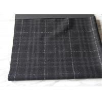 650 G / M Big Tartan Wool Fabric Black And Gray Anti Pilling For Winter Mens Jackets