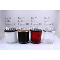 Buy cheap Colorful Glass Candle Holder , Candle Jar With Lid Cover from wholesalers