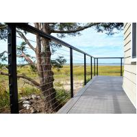 Buy cheap Black wire cable railing with square ss316 baluster wooden top handrail for sale from wholesalers
