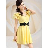 Buy cheap New Cute Elegant Design Cotton Belted Dress Yellow from wholesalers