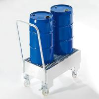 Quality 200L Oil Drum Steel Containment Pallets Galvanized / Spraying Finish With Wheels for sale