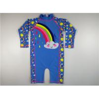 Buy cheap Blue Funny Rainbow Kids Uv Swimwear Half Zip Back Ragon Sleeve Digital Print from wholesalers