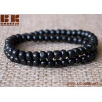 Buy cheap hot sale hip hop natural wood  bracelets  Multilayer Braid Wooden Beads Bangle from wholesalers