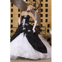 Buy cheap White & Black Strapless Organza Ball Gown Wedding Dress With Lace from wholesalers