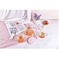 Buy cheap high temperature resistant flower logo borosilicate glass jug and cup set from wholesalers