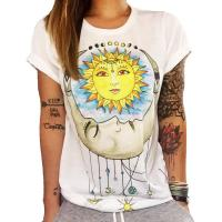 Buy cheap Deepbest Women Chase Sun Moon Printing Tees Shirt Short Sleeve T Shirt Blouse, we can add your own design from wholesalers
