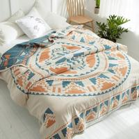 China 100% cotton quilt throw blanket Bohemia Style duvet 200*230cm AB side bedspread 4 layer Gauze Jacquard bed cover on sale
