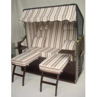 Buy cheap Outdoor Garden Dark Brown Roofed Wicker Beach Chair & Strandkorb With Cushion from wholesalers