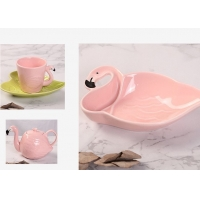 Buy cheap Ceramic Tableware Animal 130CC Flamingo Tea Set product