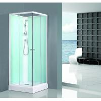 Buy cheap Square Bathroom All Glass Shower Enclosures PVC Middle Panel White Back Painting from wholesalers