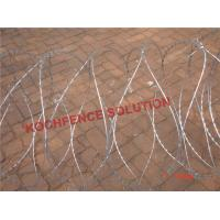 Buy cheap 3 Clips 10m Length Cross Razor Wire , Custom Design Concertina Barbed Wire from wholesalers