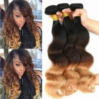 Buy cheap 100% Real Brazilian Ombre Human Hair Body Wave No Shedding Color 1b / 4 / 27# from wholesalers