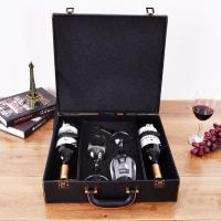 Buy cheap Wholesale leather wooden gift packaging carton wine package box With wine glass from wholesalers