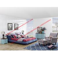 Buy cheap Blue and white strip Upholstered furniture bedding ship type headboard with pillow and fabric surronding bedstead from wholesalers