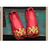 Buy cheap Red Fancy Slippers womens leather loafers With Lovely flowers , slip on loafers from wholesalers